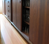 Walnut Credenza With Mayan Sunset Stone - Wood Detail